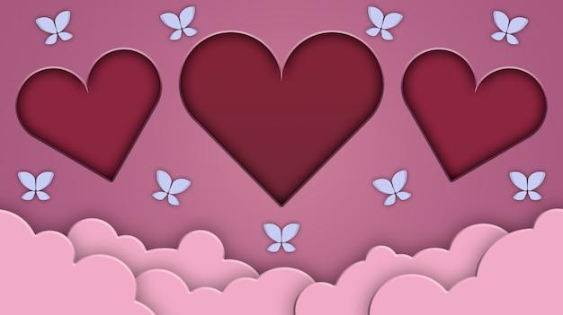 Concetto di san valentino, cuori su uno sfondo di nuvole con farfalle 3d