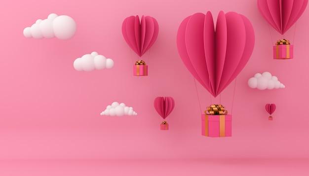 Concetto di san valentino, mongolfiere con i contenitori di regalo, rappresentazione 3d.