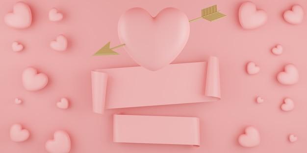 Concetto di san valentino, palloncini cuori rosa con freccia d'oro