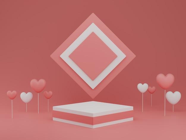 Concetto di san valentino, palloncini cuori bianchi e rosa con piedistallo