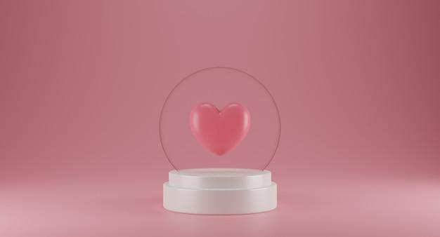Concetto di san valentino con palla di vetro