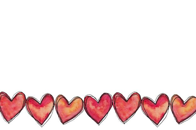 Cuori di doodle rosa acquerello dipinto a mano di san valentino.