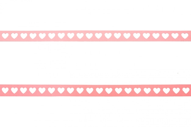 Cornice di cuori di carta rosa di san valentino come pellicola di 35 mm vecchio stile