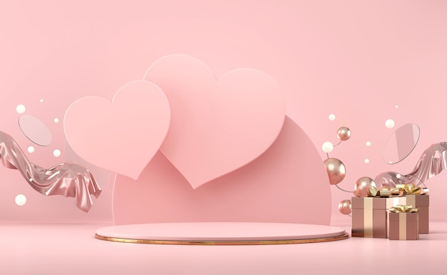 Il podio della fase di san valentino deride con il rendering 3d della vetrina dell'esposizione del prodotto della decorazione delle scatole regalo e del cuore
