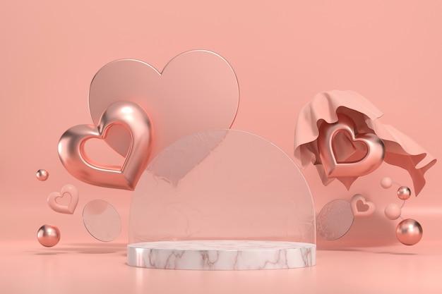 Il podio del palco di san valentino deride con la rappresentazione 3d della vetrina dell'esposizione del prodotto del cuore