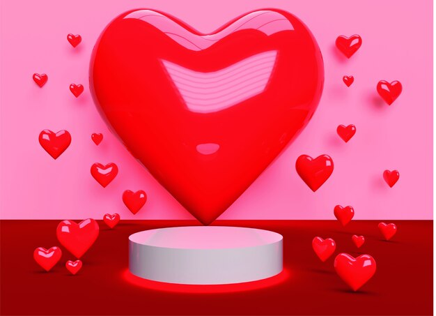 Giorno di san valentino backgraund podio del cuore 3d