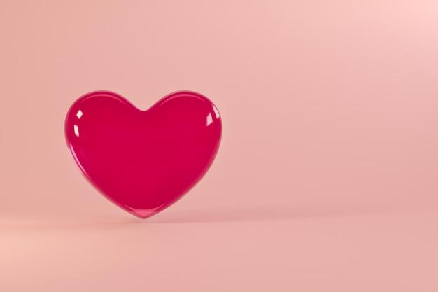 Sfondo di san valentino con cuore di vetro realistico volante. per sito web, carta da parati, invito, poster, brochure, banner.