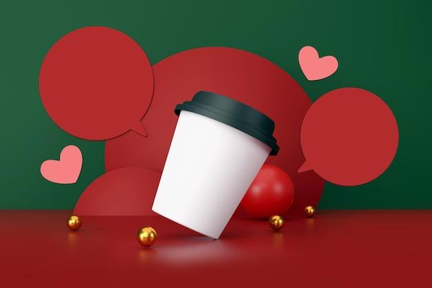 Il giorno di san valentino concetto tazza di caffè bianca su sfondo verde e rosso illustrazione 3d