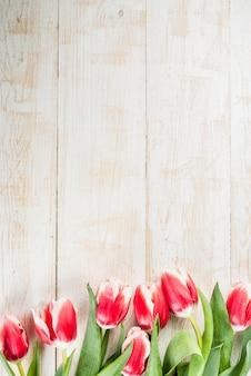 San valentino per le congratulazioni, biglietti di auguri. fiori freschi dei tulipani della molla, sulla vista superiore di legno bianca