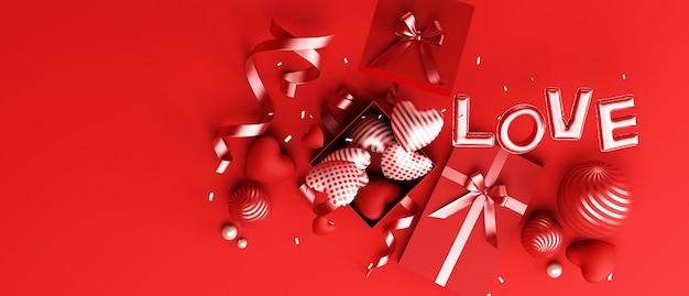 Podio di design di san valentino e sfondo rosso decorativo per la presentazione del prodotto rendering 3d