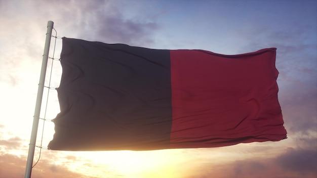 Bandiera della valle d'aosta, italia, che fluttua nel vento, nel cielo e nello sfondo del sole. rendering 3d.