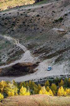 Valle del fiume kyzylchin, vista aerea. autunno nei monti altai