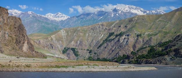 Valle del fiume pyanj al confine tra tagikistan e afghanistan