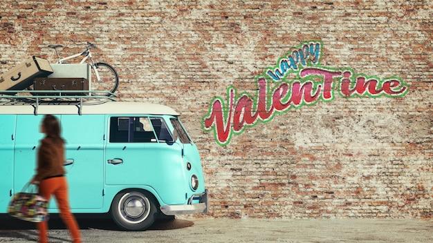 Furgone parcheggiato sulle pareti laterali e il testo buon san valentino. rendering 3d e illustrazione.