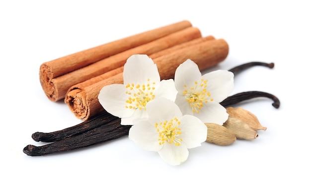 Bastoncini di vaniglia e cannella con fiori su bianco