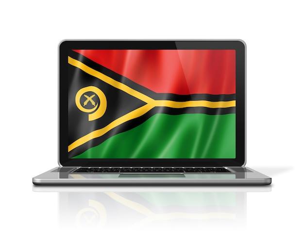 Bandiera di vanuatu sullo schermo del computer portatile isolato su bianco. rendering di illustrazione 3d.