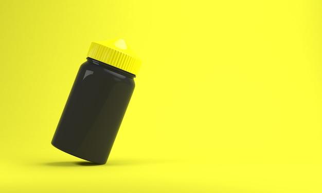 Bottiglia di liquido vape su sfondo giallo brillante