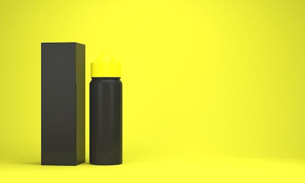 Bottiglie di liquido vape su sfondo giallo brillante
