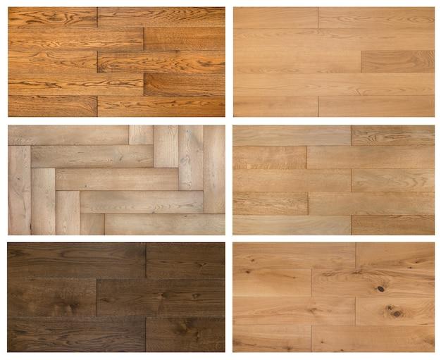 Varietà di collage di texture campione di diversi laminati e parquet