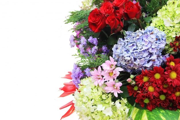 Una varietà di fiori isolato sfondo bianco
