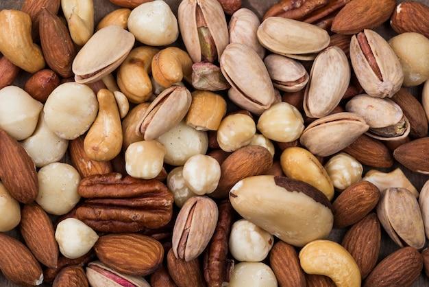 Vari sfondo di snack noci organiche
