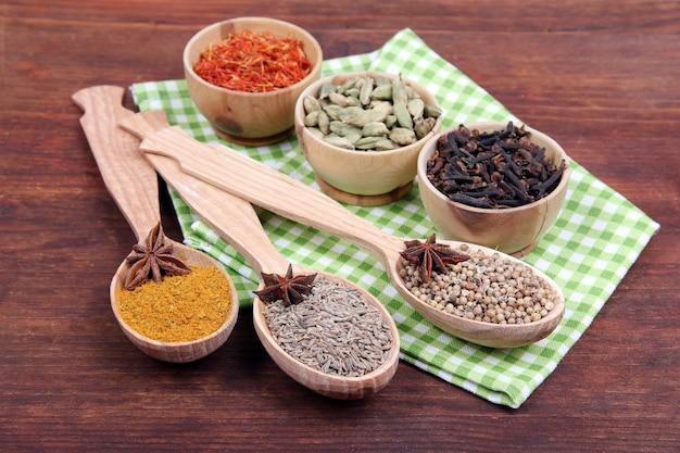 Varie spezie ed erbe aromatiche sulla tavola di legno
