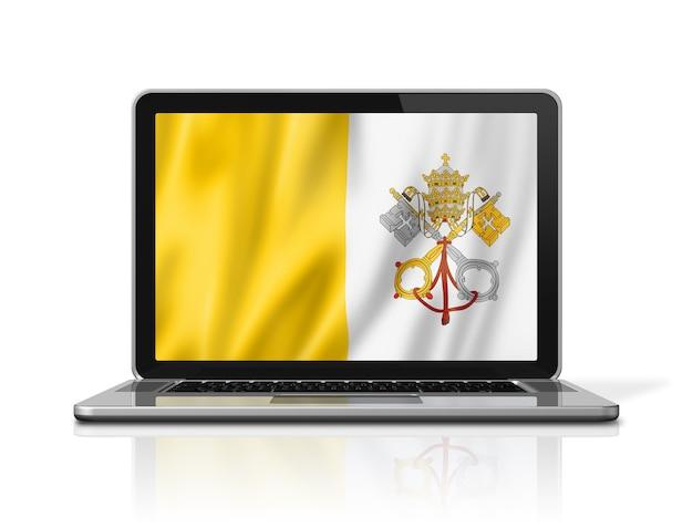 Bandiera della città del vaticano sullo schermo del computer portatile isolato su bianco. rendering di illustrazione 3d.