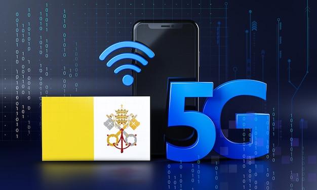 Città del vaticano pronta per il concetto di connessione 5g. sfondo di tecnologia smartphone rendering 3d