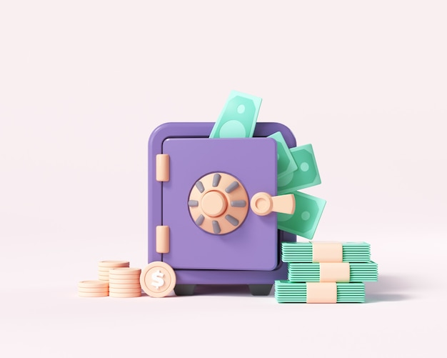 Cassaforte o cassetta di sicurezza con pile di monete, mucchio di soldi, risparmio di denaro e concetto di denaro immagazzinato. illustrazione di rendering 3d