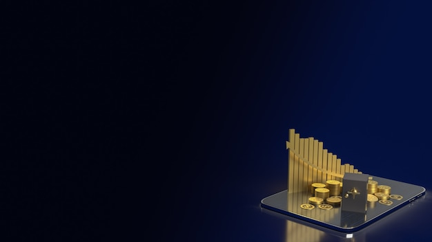 La cassaforte del caveau e le monete d'oro su tablet per il rendering 3d del concetto di business