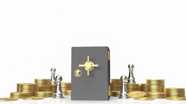 La cassaforte del caveau e le monete d'oro su sfondo bianco per il rendering 3d del concetto di business