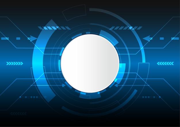 Fondo digitale astratto di vettore, spazio vuoto del cerchio bianco, concetto di tecnologia digitale alta tecnologia, cyberspazio della luce blu.