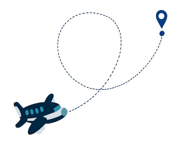 Percorso della linea aerea disegnata a mano vettoriale della rotta di volo dell'aereo con traccia della linea tratteggiata e punto di arrivo