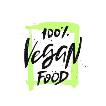 Citazione disegnata a mano di iscrizione di cibo vegano