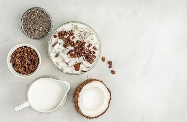 Ciotola di muesli vegano con latte di cocco e semi di chia. vista dall'alto, copia dello spazio