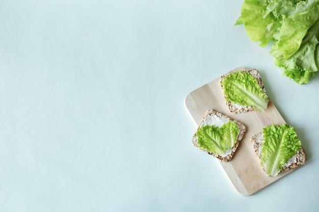 Panini vegani con insalata verde di fette biscottate e piatto di formaggio morbido giacevano su sfondo chiaro con spazio di copia