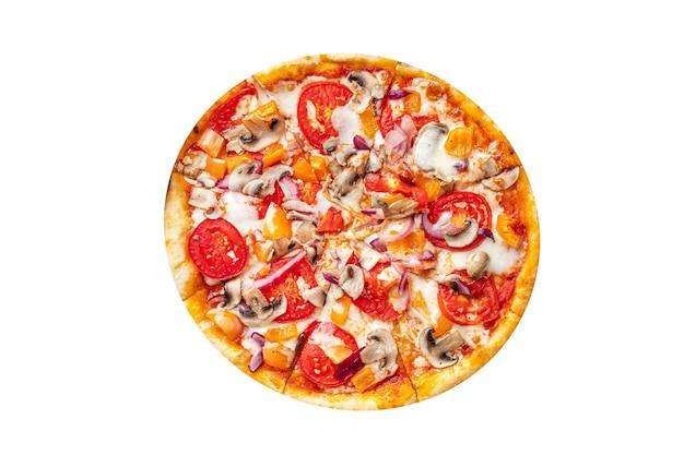 Pizza di verdure senza carne pomodoro pepe cipolla funghi mais verdure fresche pasto snack