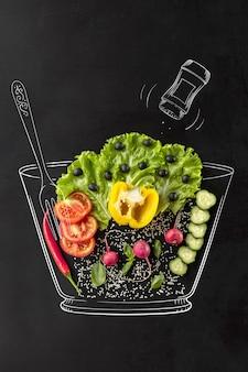 Insalata di verdure set di ingredienti per un piatto utile sano pomodoro ravanello cetriolo e lattuga verde