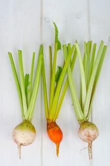 Verdure, barbabietole di diversi colori.