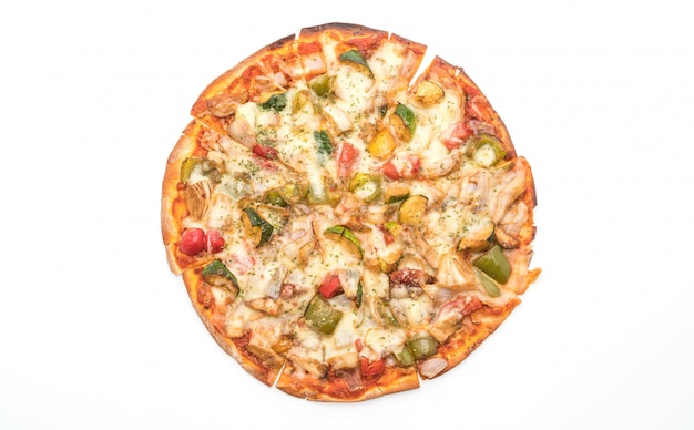 Pizza vegetariana su sfondo bianco Foto Premium