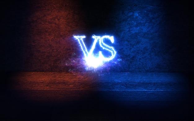 Contro lo sfondo con i raggi bagliore blu e rosso illustrazione 3d