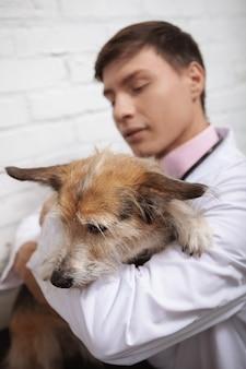 Chiudere verticale di un giovane veterinario che abbraccia carino cane di razza mista rifugio