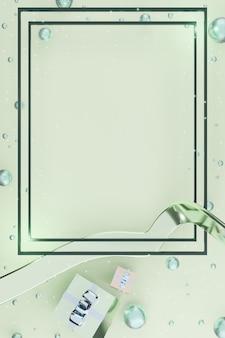 Cornice verticale capodanno e natale sfondo confezione regalo palloncini e nastro illustrazione 3d
