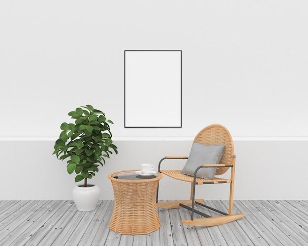 Cornice verticale - interno bianco con mobili in vimini