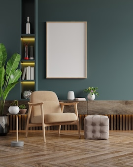 Cornici verticali sulla parete verde scuro vuota all'interno del soggiorno con poltrona di velluto. rendering 3d