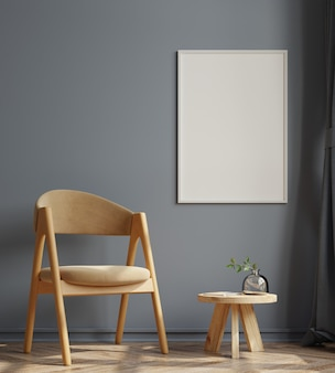 Cornici verticali sulla parete scura vuota all'interno del soggiorno con poltrona in velluto. rendering 3d