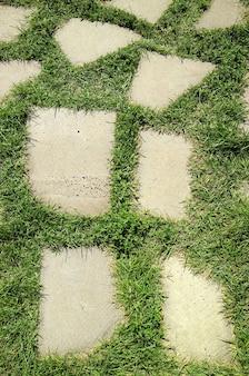 Immagine verticale della passerella di pietra nel campo di erba verde