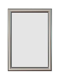 Cornice metallica verticale per le tue foto isolato su bianco.