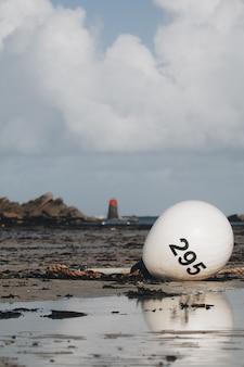Colpo verticale di un palloncino con un numero sulla riva