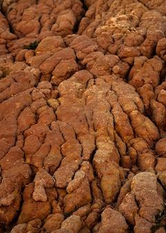 Ripresa verticale di una superficie rocciosa in un paesaggio naturale